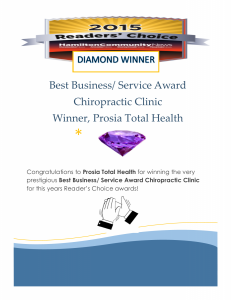 Readers Choice Award Diamond Winner Prosia Total Health Chiropractic