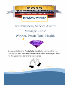 Readers Choice Award Diamond Winner Prosia Total Health Massage Clinics
