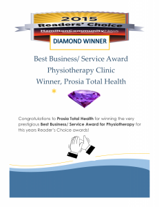 Readers Choice Award Diamond Winner Prosia Total Health Physiotherapy