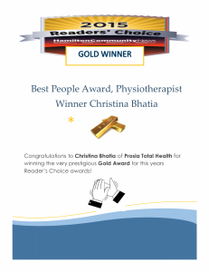 Readers Choice Award Gold Winner Christina Bhatia